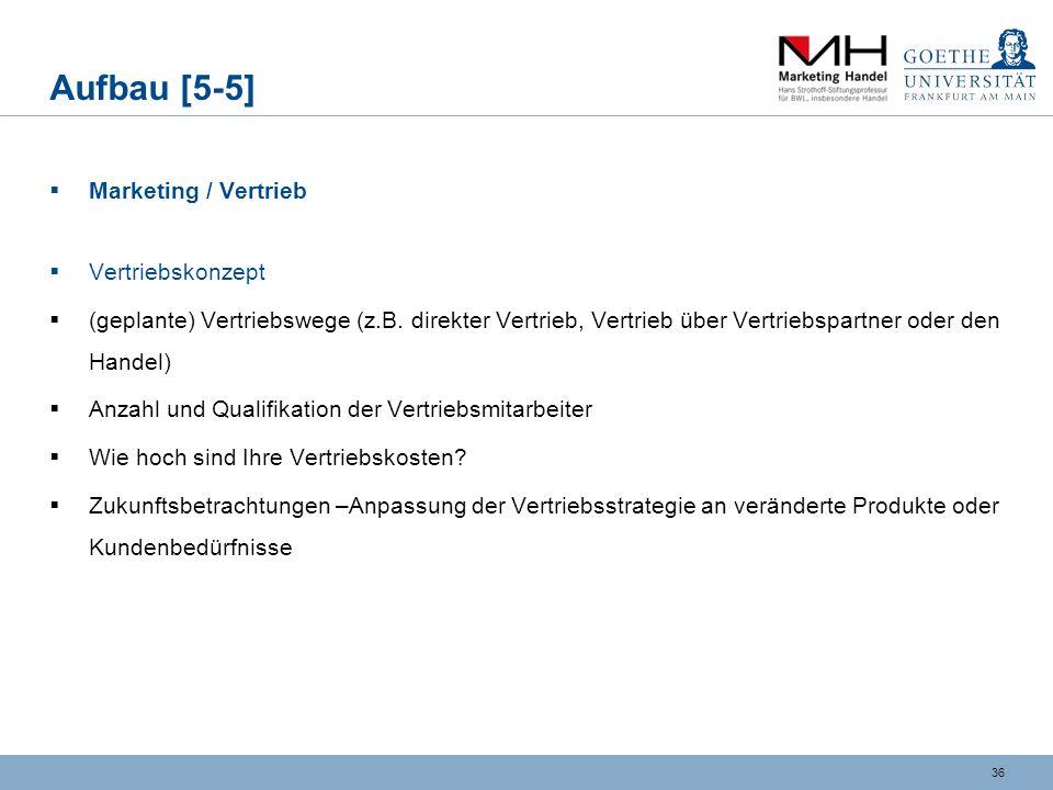 Aufbau [5-5] Marketing / Vertrieb Vertriebskonzept